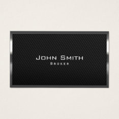 Real Estate Broker Carbon Fiber Metal Framed Business Card at Zazzle