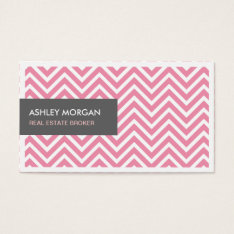 Real Estate Broker - Light Pink Chevron Zigzag Business Card at Zazzle