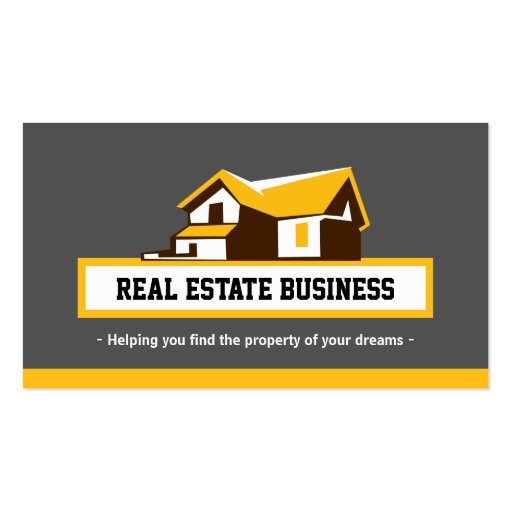 Real Estate Broker Realtor - Modern Stylish Yellow Business Card Template