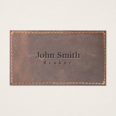 Real Estate Broker Sewed Leather Professional Business Card at Zazzle
