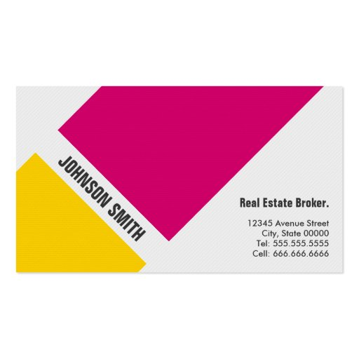 Real Estate Broker - Simple Pink Yellow Business Card Template