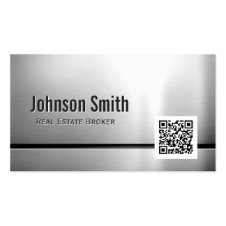 Real Estate Broker - Stainless Steel QR Code Double-Sided Standard Business Cards (Pack Of 100)