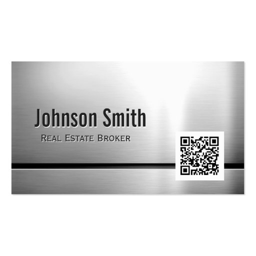 Real Estate Broker - Stainless Steel QR Code Business Card Template