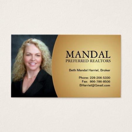 Classy Gold Photo Business Card Profilecard