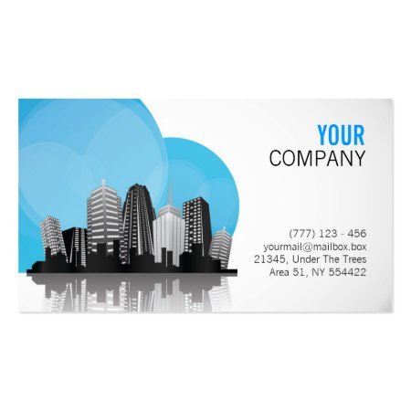 Blue and White City Skyline Design Construction Business Cards Sample