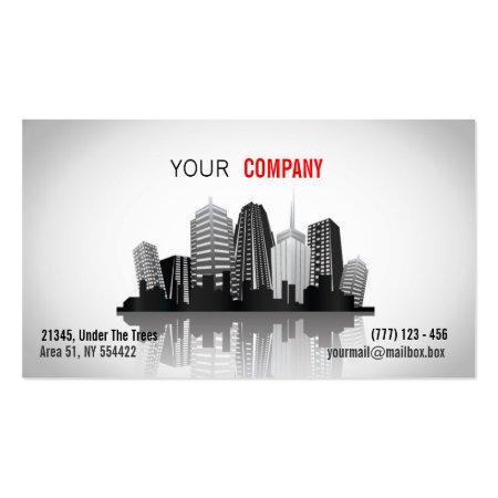 City Skyline Illustration Architect Business Cards