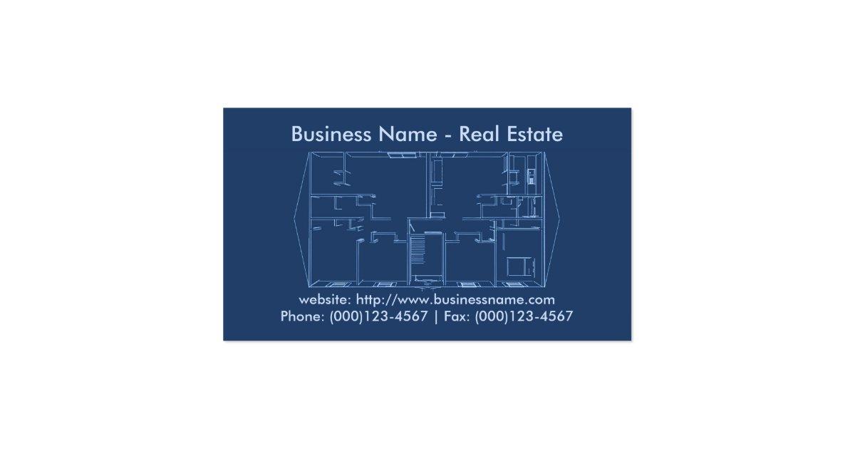 Real Estate Business Card  Floor Plan Blueprint Business