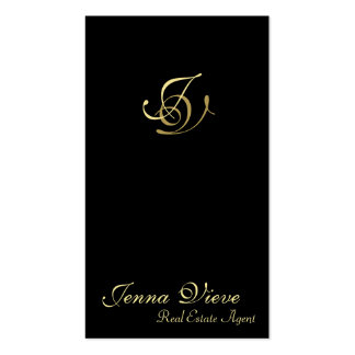 Real Estate Business Card Monogram Black & Gold