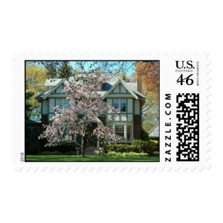 Real Estate Cherry Blossom House Stamp stamp
