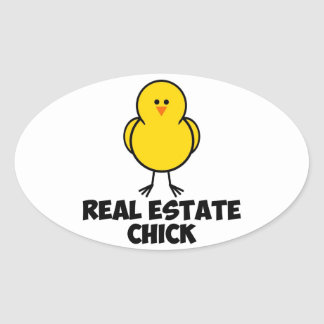 Real Estate Chick Oval Sticker