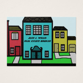 Real Estate city buildings home office Business Card