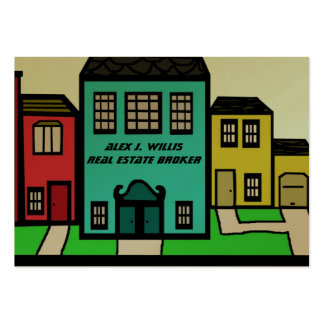 Real Estate city buildings home office Large Business Card