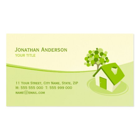 Cute Custom Green Home Icon Bed and Breakfast Business Cards