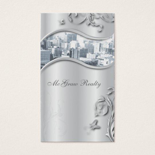 Real Estate Elegant Stylish Business Card Silver