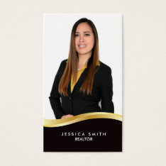 Real Estate gold swoosh business card at Zazzle
