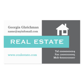 Real estate grey, white, aqua eye-catching Double-Sided standard business cards (Pack of 100)