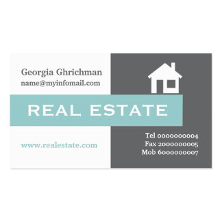 Real estate grey, white, blue eye-catching business card template