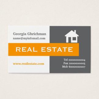 Real estate grey, white, orange eye-catching business card