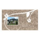 Real Estate Home Damask Business Card Floral Beige
