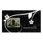 Real Estate Home Damask Business Card Floral Black