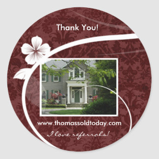 Real Estate Home Sticker Thank You Red Damask