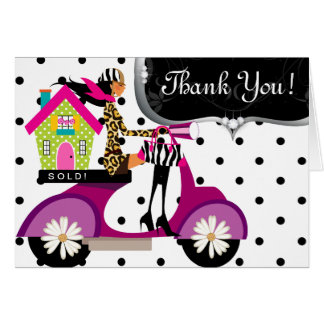 Real Estate House Scooter Girl Dots Thank You Card