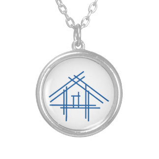 Real estate house silver plated necklace