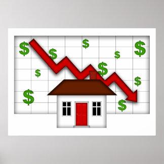 Real Estate Housing Falling Prices Illustration Po Poster