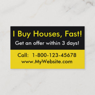 real estate investor business card i buy houses - Real Estate Investor Business Cards