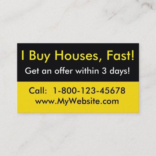 Real estate investor business card i buy houses zazzle real estate investor business card i buy houses reheart Image collections