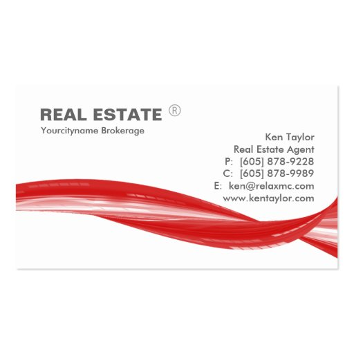 Real Estate Logo Red Swoosh Modern White Double-Sided Standard Business Cards (Pack Of 100)