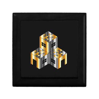 real estate market with puzzle roof gift box