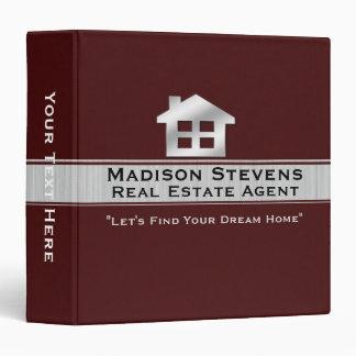 "Real Estate Maroon Silver Binder 1.5"""