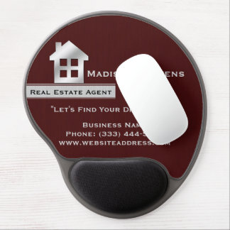 Real Estate Maroon Silver Gel Mouse Pad