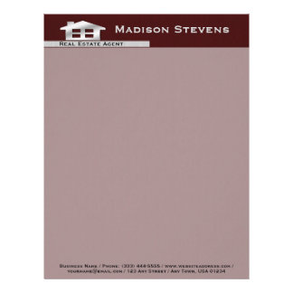 Real Estate Maroon Silver Letterhead