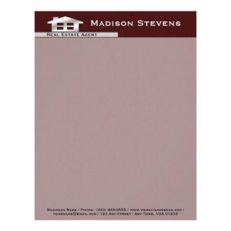 Real Estate Maroon Silver Letterhead