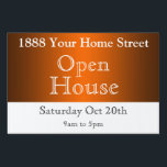 "Real Estate Open House Orange Yard Sign<br><div class=""desc"">Get your house noticed with our Real Estate yard signs. See more great business styles at TheInspiredEdge.com</div>"