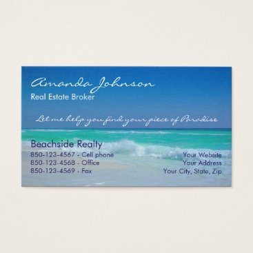 Beach Themed Real Estate Piece of Paradise Beach Waves Business Card
