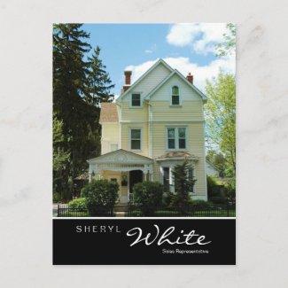 Real Estate Postcards Tall Yellow House V postcard