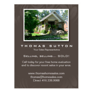 Real Estate Realtor Cute Cobblestone House Postcard