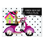Real Estate Realtor Scooter Girl Dots Open House 5x7 Paper Invitation Card