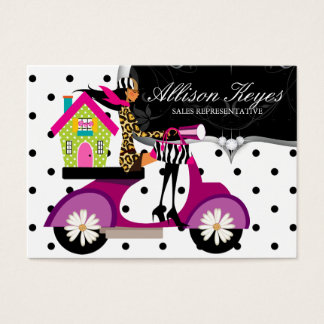 Real Estate Realtor Scooter Girl House Dots Business Card