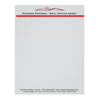 Real Estate Red Rooftop Letterhead