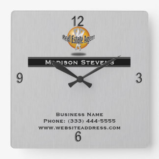 Real Estate Silver Key Logo Wall Clock