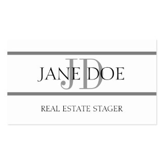 Real Estate Stager Stripe White Business Card Template