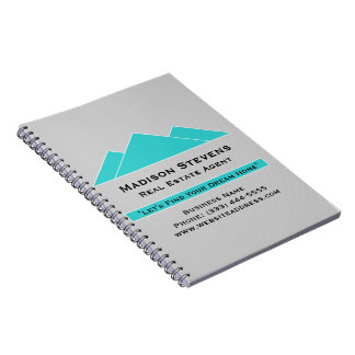 Real Estate Turquoise Rooftops Spiral Notebook