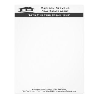 Real Estate White Gray Stripe Letterhead