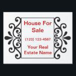 "Real Estate Yard Signs<br><div class=""desc"">Real Estate yard signs with background you can customize and text                     that says &quot;house for sale&quot; and a phone number you can customize. Big lettering and strong coroplast sign material with white background makes a great street sign to help rent or sell your house,  condominium,  apartment for rent.</div>"