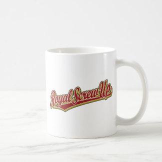 Real estropee el logotipo de la escritura en rojo tazas de café