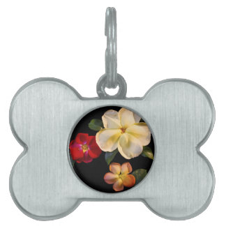 Real fake flowers pet ID tag